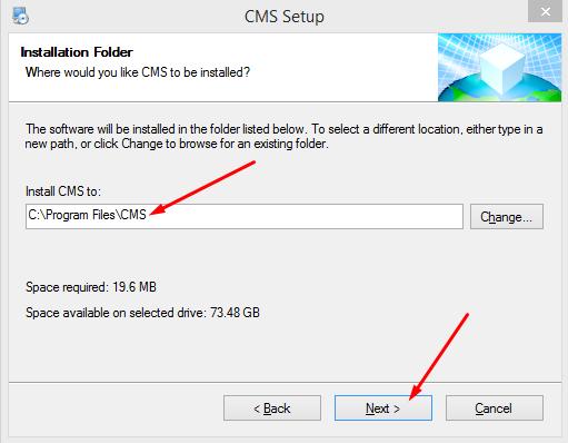 cài đặt phần mềm cms camera 4