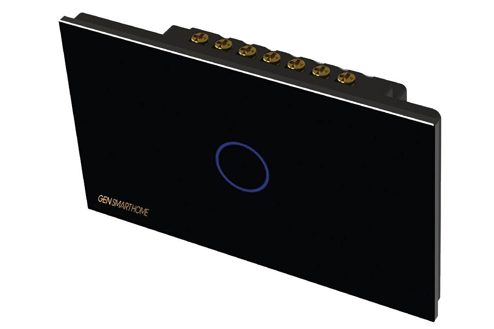 công tắc công suất cao 1 nút chạm Gen smarthome màu đen