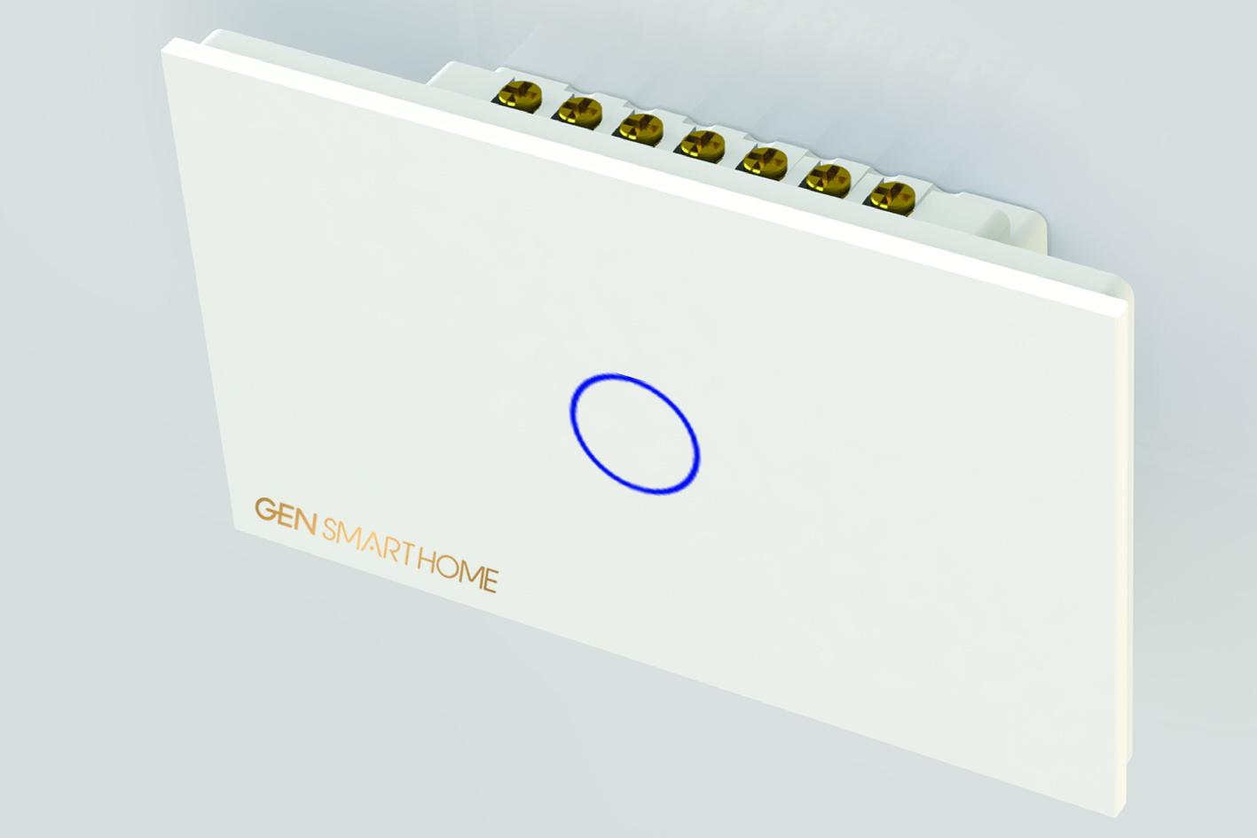 công tắc công suất cao 1 nút chạm Gen smarthome màu trắng