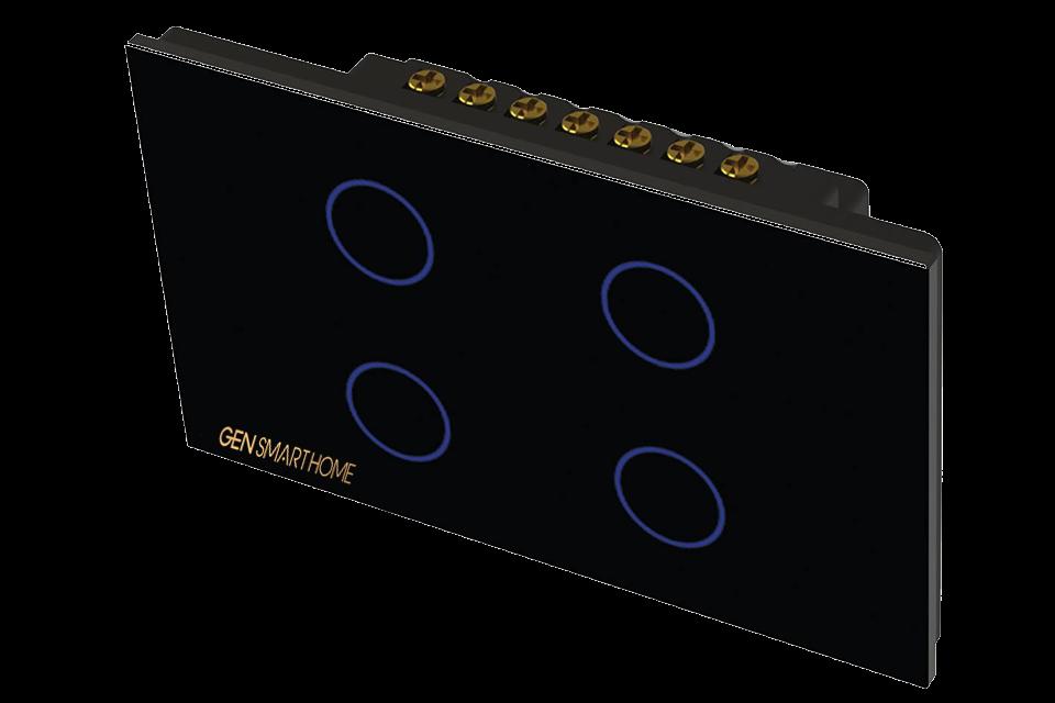 công tắc công suất cao 4 nút Gen smarthome màu đen