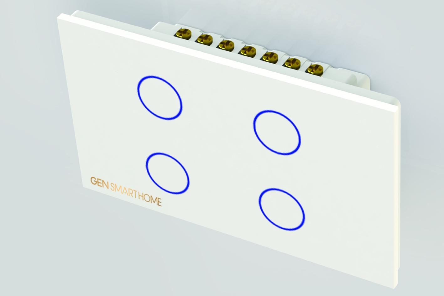 công tắc công suất cao 4 nút Gen smarthome màu trắng